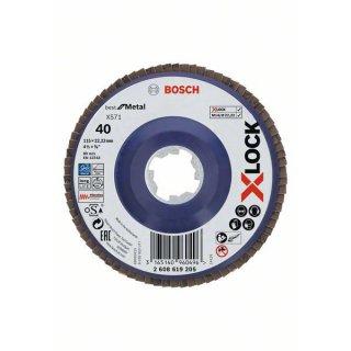 Schleifscheibe Fächerschleifscheibe gerade Bosch X-LOCK Best for Metal X571 125x22,23 gr  40