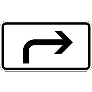 Verkehrszeichen Verkehrsschild Zusatzzeichen 330x600mm rechts abbiegend RA1