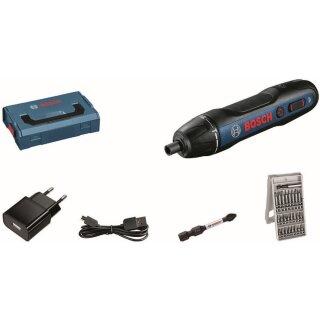 Bosch Professional GO Akku-Schrauber, 25 tlg. Bit Box, L-BOXX Mini, Ladegerät