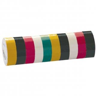 10 Rollen Isolierklebeband farbig, 1,13x19mm x 10m