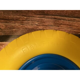 Ersatzrad Schubkarrenrad Polymer mit Achse -gelb unplattbar Vollgummi 400/100