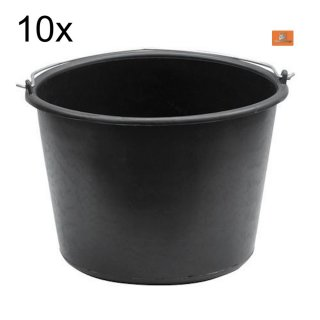 10x Baueimer 12 Liter PVC literskala Putzeimer Farbeimer Malereimer Mörteleimer