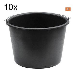 10x Baueimer 20 Liter PVC  literskala Putzeimer Farbeimer Malereimer Mörteleimer