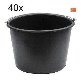 40x Baueimer 20 Liter PVC  literskala Putzeimer Farbeimer Malereimer Mörteleimer