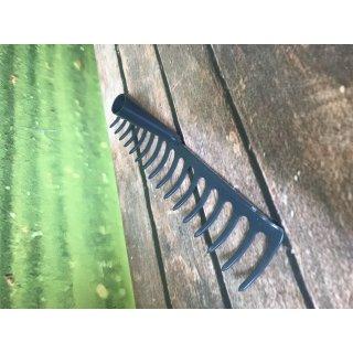 Gartenrechen Harke 16 Zinken, 42cm Strassenrechen Rasenrechen verstärkt grau